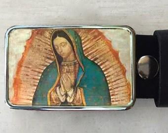Virgin de Gaudalupe Belt Buckle.  Belt buckles for women and men.  Spiritual Art.