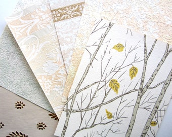 8 x 10 VINTAGE WALLPAPER 6 Sheets Gold, Creams, Light Neutrals 1950s 1960s