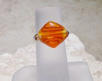 Orange Lamp Work Bead Wire Ring, Gold Wire Wrap Ring, Orange Bead Ring, Glass Bead Ring, Size 7 Ring, Gold Wire Ring, Bead Ring