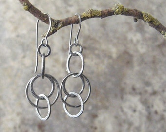 fine silver earrings, handmade metalwork earrings, rustic silver dangle earrings