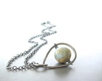 jasper and silver pendant necklace, rustic oxidized necklace, aqua terra jasper pendant, metalwork necklace, blue stone pendant