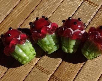 YUMMY Watermelon Themed Handmade LAMPWORK Cupcake Beads
