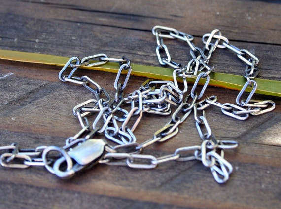"""Sterling Silver Oxidized Drawn Cable Necklace 18"""""""