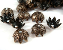 25 Flower Bead Cap Antique Bronze Plated Iron NF 10x4mm - 25 pc - F4120BC-AB25