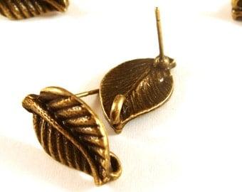6 Leaf Earstuds Antique Bronze Tibetan Style Earring Posts with Loop 17x10mm - 3 pr - F4159ES-AB6