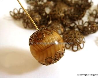 50 Bronze Flower Bead Caps Antique Bronze 13mm - 50 pc - F4013BC-AB13mm50