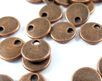 50 Copper Flat Round Drop 8mm Antique Copper LF/NF - 50 pc - M7040-AC50