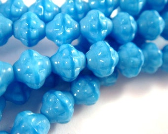 BOGO - 25 Blue Czech Flower Bicone Opaque Pressed Glass Saucer Beads 6x5mm - 25 pc - G6074-SKB25 - Buy 1, Get 1 Free - no coupon required