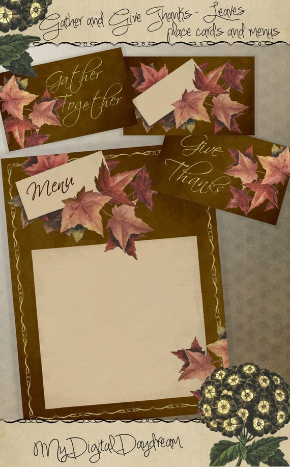 Thanksgiving decor printable name place card menu tents