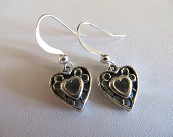 Silver Heart Earrings, Filigree Earrings