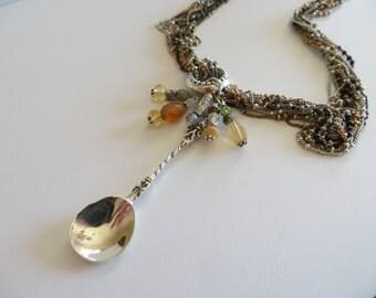 Sterling Salt Spoon and Gemstone Necklace, Antique Salt Spoon
