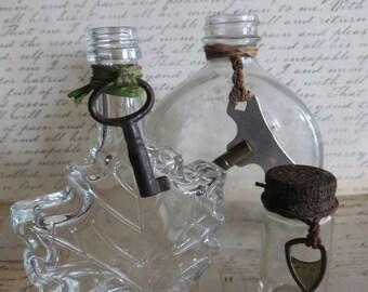 Trio of Vintage Bottles With Skeleton Keys, Maple Leaf