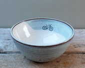 Mountain Bike Blue Ceramic Cereal Bowl