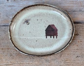 Light Green Oval Rustic Side Plate with Beehive and Bee