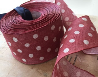 "Red Polka Dot Cotton Wired Ribbon  (9 yds ~ 1 5/8"")"