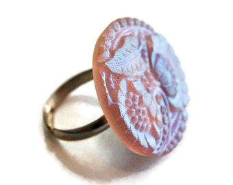 Lavender Iridescent Flower Button Ring, Swirl Ring, Adjustable Ring, Floral Ring,