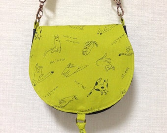 Round Shoulder Bag / Round Shape Purse / Hand Bag --- Graffiti Cat