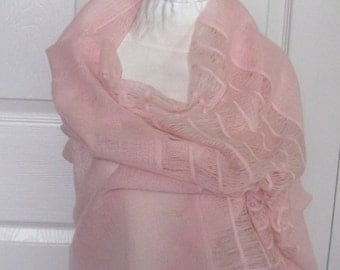 woven shawl . woven wool shawl . pink wool shawl . woven pink wool shawl . pink wool wrap . pink wool stole . churchill handwoven