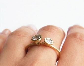 Gabrielle Ring, Double Diamond Ring, Diamond Engagement Ring, Modern Engagement Ring, Engagement Ring, Two Diamond Ring, Unique Diamond Ring