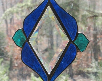 Stained Glass Suncatcher - Multifaceted Diamond Bevel with Blue and Teal Border