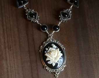 Jewelry - Necklace - Black and Ivory Rose Cameo -  Black Onyx