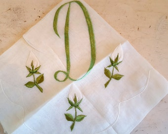 Vintage Ribbon Rose Green Embroidered Hankie Initial D Handkerchief Like New with Sticker Cocktail Size