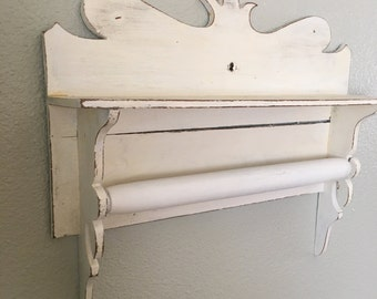 Antique Shelf Curvy Painted White ADORABLE! Bar for Towel, Ribbons