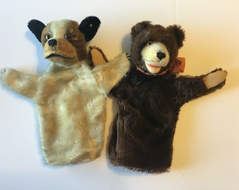 Antique Steiff Dog and Bear Mohair Hand Puppets