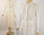 Vintage 1950s 1940s White Cotton Nurses Uniform B38 W28