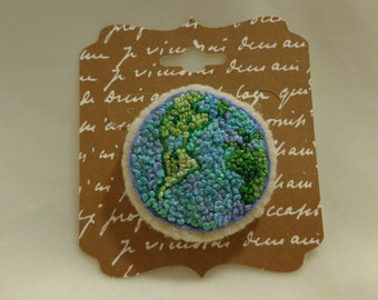 Handmade Needlecrafted French Knotted Planet Earth Brooch Pin