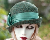 Hat Downton Abbey Womens Designer 20's Cloche Winter Couture Great Gatsby Green Jewel Tone Tweed Fabric