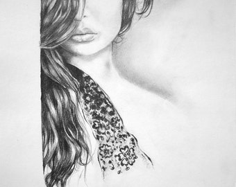 Original pencil drawing, portrait of a woman