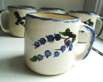 4 Handcrafted Coffee Mugs- Blueberry Design Handpainted - Artisan Made Pottery - Blue Sponge Trim White- Set of Four - Hand Painted - 12 oz
