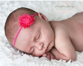 SALE Baby Girl Headband - Tiny Hot Pink Flower On A Thin Stretch Headband- Baby Girl Headband