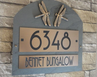 Craftsman Arched Slate HOUSE NUMBERS Dragonfly Address Plaque