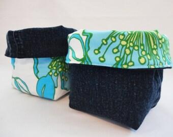 Fabric Organizer, Fabric Basket, Storage Basket: Blue Floral