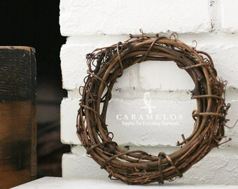 "8"" Natural Grapevine Wreath Rustic wedding woodland decoration"