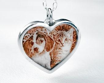 Pet Portrait Necklace Heart Custom Pendant Sterling Silver Dog Cat Enamel Personalized