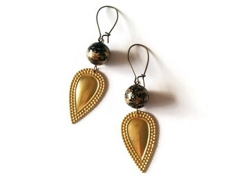 Black Earrings with Gold Speckles - Brass Studded Fan Earrings - Black Earrings Golden Drops - Vintage Jewellery - Horizon Earrings (SD0989)