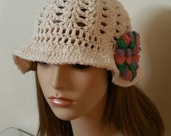 Cotton Cloche in Off White with Rainbow Flower