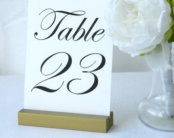 Table Number Holder  + Antique Gold Table Number Card Holders- Set of 10