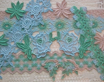 Hand Dyed Venise Lace, Crazy Quilt, Embellishments, Appliques, 12 Pc. Grab Bag