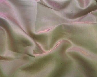 Faux Silk CHARMEUSE Satin Fabric Iridescent PINK GREEN 1 Yard