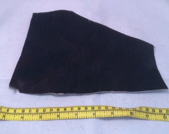 Dark BROWN Hair on Cow Hide Furry Leather Piece #2