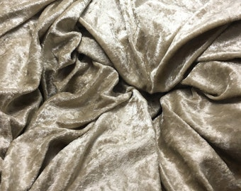 Beige Polyester CRUSHED VELOUR Fabric 1/4 yard remnant