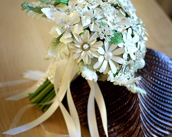 Enamel flower Brooch Bouquet , hand tied with french beaded leaves and rhinestone and pearl brooches
