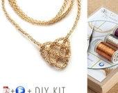 20% OFF - Knot Necklace - Celtic Knot Necklace  - Love knot necklace - DIY Kit - Wire crochet pattern - Jewelry Making Kit - Crochet jewelry