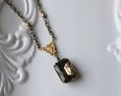 Smokey Grey Rhinestone Necklace / Antiqued Brass Necklace / Elegant Rectangle Rhinestone / Estate Style Necklace / Grey Bronze Color