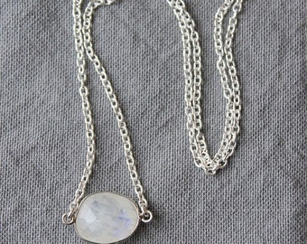 On SALE / CIJ Sale / Sterling Silver Moonstone Necklace / Moonstone Charm / Natural Rainbow Moonstone /  Gemstone Layering Necklace Gift for