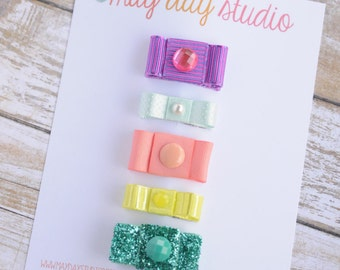 newborn baby girls bitty hair clips collection - classic ribbon snap clips set, baby hair clips